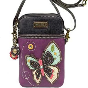 Chala Butterfly Purple Cell Phone Crossbody Bag